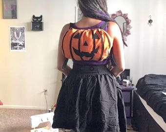 Halloween plush pumpkin backpack