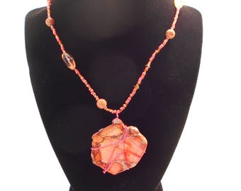 Orange and Peach Wrapped Stone and Bead Necklace