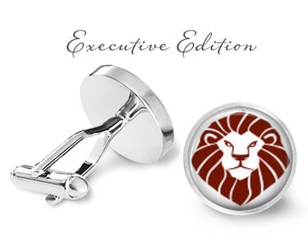 Lion Head Cufflinks - Lion Cuff Links - Animal Cufflink - Safari Cufflinks - Zoo Cufflink (Pair) Lifetime Guarantee (S0471)