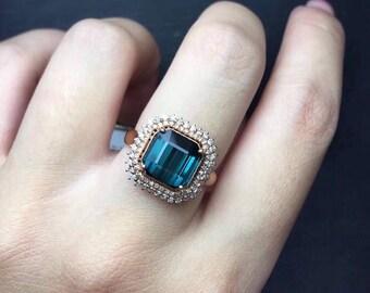 Indicolite Tourmaline Ring Mozambique Origin Indicolite Tourmaline AAA+ Faceted Square 9 x 9 MM Diamond 18K Rose Gold Ring Jewelry