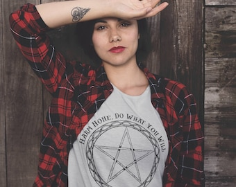 Harm None Neo-Pagan Pentacle Witchcraft Sacred Geometry Occult t-shirt. Womens tshirt, Soft shirt, Wicca Magic Magick witch wiccan rede tee.