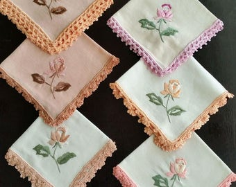 Rose Elegance Doily decoration textile for small table or shelf. Hand made embroidery & lace - small gift !