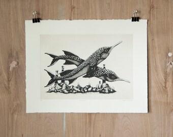 Cavebeak - Silkscreen Print - Scientific Study