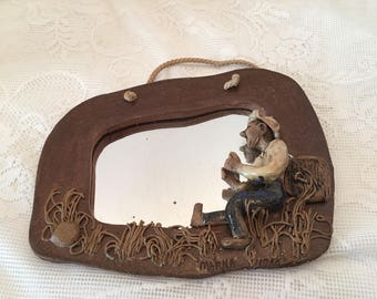 """Vintage Mirror ~ Small Wall Mirror ~ Man On Side ~ Hand made ~ 1980's ~ 6"""" x 8"""" ~ Brown ~ Artist signed:  Shabby Chic ~Bohemian ~Beach Decor"""