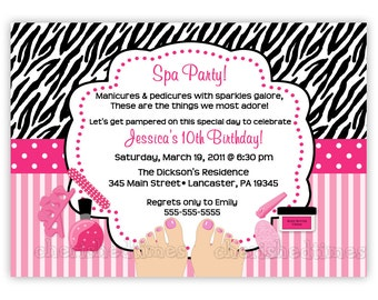 Zebra or Damask Pedicure SPA Birthday Party Invitation (You Print)