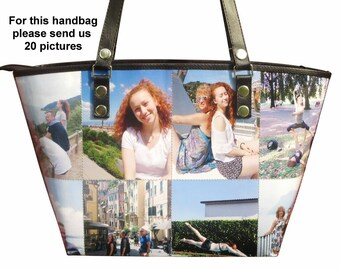 Large personalized tote bag with pictures from you - FREE SHIPPING, gift gifts for mom girlfriend grandmother custom customized handbag bag