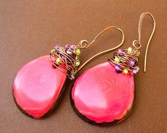 Bold Colorful Earrings, Large Hot Pink Tagua Nut & Copper Dangles, Unique Summer Earrings, Boho Gypsy Beach Resort or Festival Wear, Gift