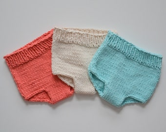CoTToN Diaper Cover Knit BaBY PHoTO PRoP Newborn 3 6 12 month Boy Girl Diaper Cover PiCK CoLOR Aqua Coral Natural Moss GiFT Take Home SoAKeR