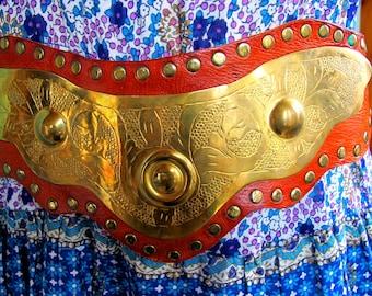 Vintage Leather and Brass Studded Statement Belt Boho Chic 1970's