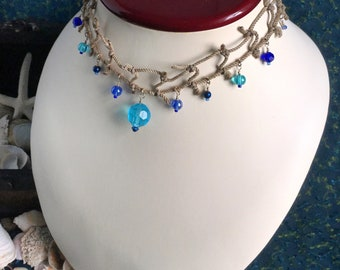 mermaid fishnet necklace with blue beads