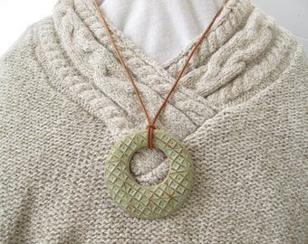 """Necklace - 2.5"""" Textured Handmade Ceramic Pendant With Leather Cord in Matte Gray-Green Glaze"""