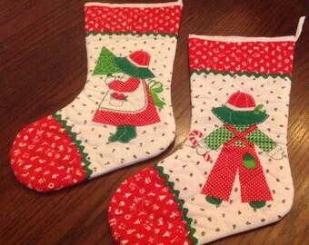 Vintage Christmas Stockings, Vintage Christmas Decorations, Vintage handmade Christmas Stockings,  Christmas Ornaments, Christmas Stocking