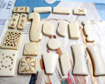 2 Hole Bone Spacer Bars, Mix Shape, 3 Hole White Bone Necklace Separator, Rectangle Divider, 10 Pc 06053