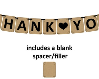 THANK YOU - Printable Party Banner and Decoration -Kraft paper style with simply elegant filigree