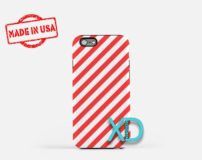 Red Candy Cane iPhone Case, Red iPhone Case, Candy Cane iPhone 8 Case, iPhone 6s Case, iPhone 7 Case, Phone Case, iPhone X Case, SE Case