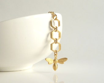Gold Honeycomb Necklace - brass honey bee charm dangles from brass hexagons on gold plated delicate chain - BUZZ