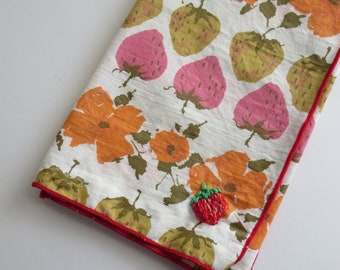 Modern Hand Embroidered Hankies, Casual Pocket Square, Cotton Handkerchiefs, Strawberry turnip  Embroidery
