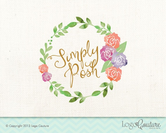 Premade Logo Design Simply Posh Flower Frame Watercolor