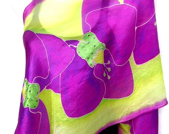 Hand Painted Silk Scarf,  Orchids Silk Scarf, Orchid Pink Lime Green, Floral Silk Scarf, Custom Order