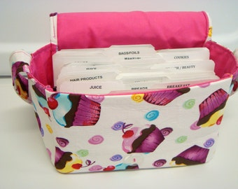 "Large 4"" Size Coupon Organizer / Budget Organizer Holder Box - Attaches to Your Shopping Cart - Cup Cakes"
