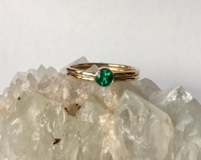emerald ring, 14k gold double band engagement, chatham, ethical eco fair trade gemstone, may birthstone, minimalist, simple