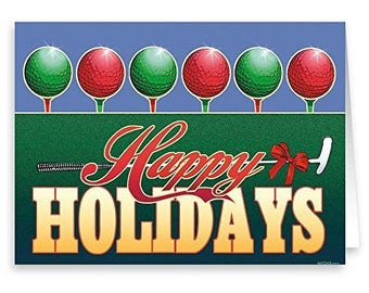 Golfing Holiday Card - 18 cards and envelopes - Golf Christmas Card - RKX39