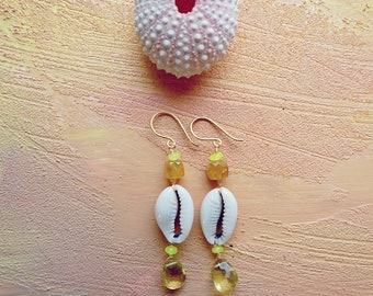 Okapa cowrie shell, citrine and yellow jade wire wrapped earrings