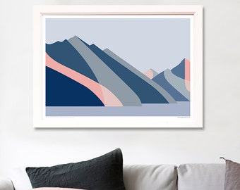 Cecil and Walter Peaks, Queenstown, Lake Wakatipu, New Zealand Modern Abstract Mountain Landscape Art Print Wall Art Poster