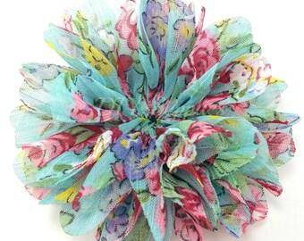 Chloe floral chiffon flower - 2.5 inch fabric flower - Ballerina ruffle flower - Wholesale flowers - Hair flower - Appliqué flower