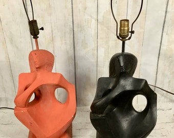 Pair Of Rima NY Mid-Century Abstract Figural Lamps -Black - Red Plaster  Cubism