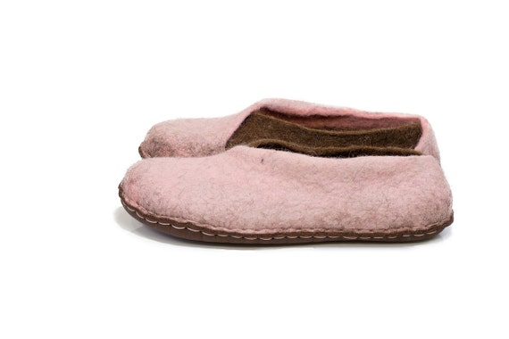 Pink Pale Slip Chocolate Women with gift Housewarming Slippers For Slippers Wool Bedroom Brown Slippers Envelope Felted Non Women soles OqxSAYF