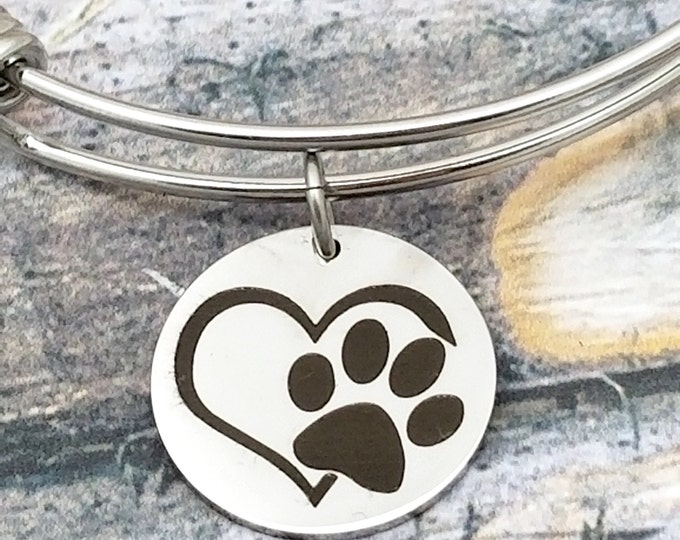 Paw Heart Customizable Expandable Bangle Charm Bracelet, choose your charms, create your style, design your bracelet,
