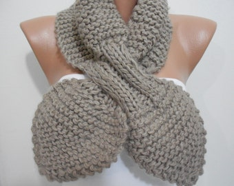CHRISTMAS Gift For Her Knitted Bow Scarf Chunky Scarf Taupe Bow Scarf Ascot Neck Warmer Cozy Winter Scarf Knitting Scarf   ScarfClub Holiday