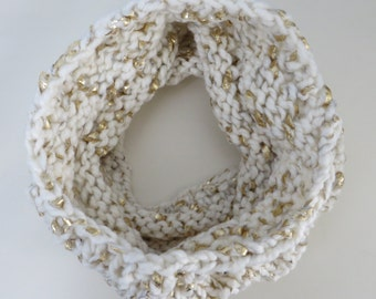Hand Knitted Chunky Cream and Gold Textured Cowl Neck Warmer Teen Women Winter Scarf Gift Present Christmas
