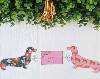 Dachshund Jungle Beast Mode Handmade Paper Garland