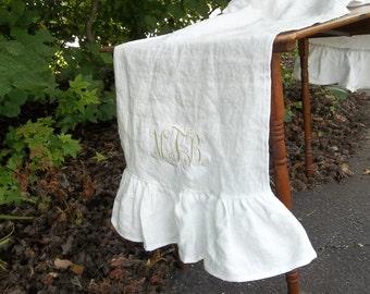 Custom Linen Table Runner Ruffled Linen Runner Monogram Option Table Runnner Wedding Décorations Table Decor Table Linens