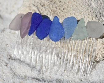 Genuine Surf Tumbled Sea Glass Hair Comb in a Rainbow of Colors
