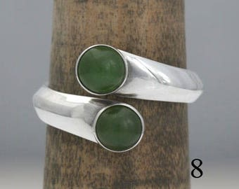 Jade and sterling silver ring, size 8, #508.