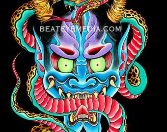 Aaron Coleman,TATTOO,sticker,MONSTER,MONSTERS,demon,comic art,comic,snake,evil,Horror,hannya,mask,masks,japanese,illustration,devil,ed hardy