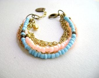 Bohemian bracelet stacking bracelet soft neon coral turquoise gold chain bohemian style boho chic - gypsy bracelet Smooth -