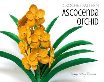 Crochet Orchid Pattern - Ascocenda Orchid Crochet Flower Pattern - Crochet Pattern for Decor