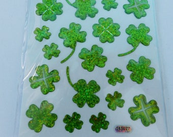 sheet of 23 stickers embossed 4 leaf clover good luck green holographic happiness
