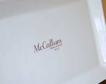 Wedding Monogram Guest Book Signature Platter with your Last Name up to 75 Signatures