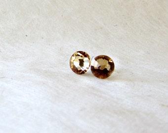 Topaz Stud Earrings, Swarovski Earrings, Crystal Earring Studs, Small Post Earrings, Champagne Bridal Earrings, Simple Wedding Jewelry