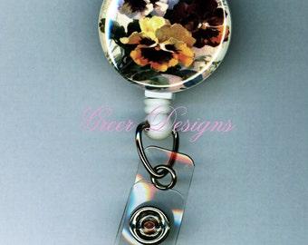 Pansy Pansies Flower Badge Holder Retractable Reel Clip Teacher Gift