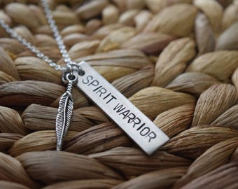 spirit warrior necklace | hand stamped personalized jewelry | bar necklace | yogi necklace | be the light | custom personalized necklace