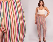 Rainbow Pants Bell Bottom Pants 70s Hippie Trousers Striped Pants High Waisted Boho Flared Festival Knit Bohemian Seventies Large 10 12