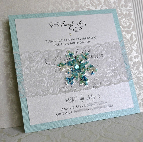 Snowflake And Lace Invitation / Winter Wonderland / Frozen