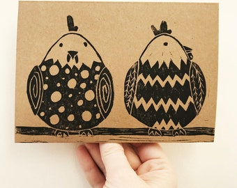 2 Perched chickens greetings card for Easter, Birthdays or other occasion