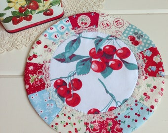 sweet vintage cherry patchwork doily